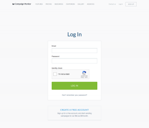 Campaign Monitor – Login page