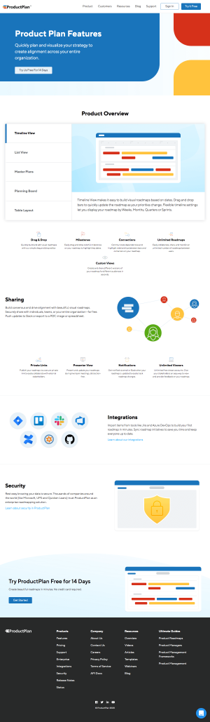 ProductPlan – Features page