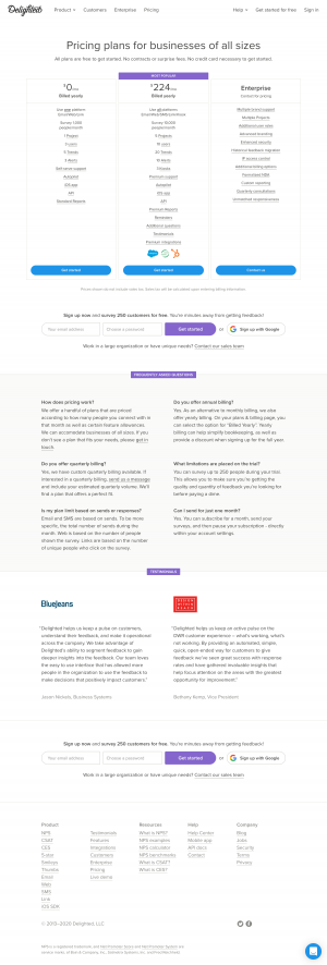 Delighted – Pricing page