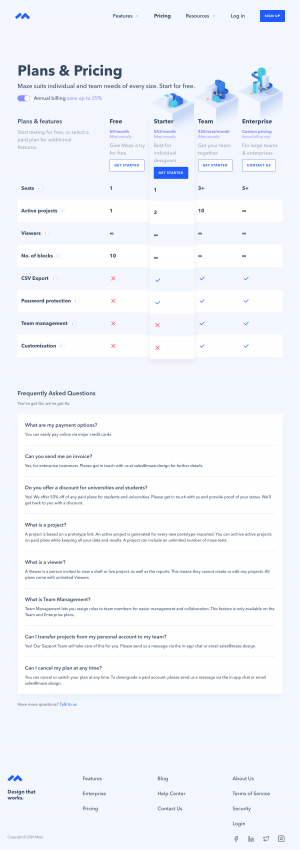 Maze – Pricing page