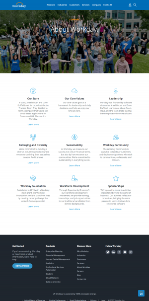 Workday – About Us page