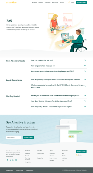 Attentive – FAQs page
