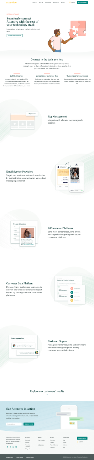 Attentive – Integrations page 1