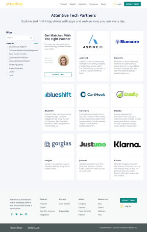Attentive – Integrations page 2
