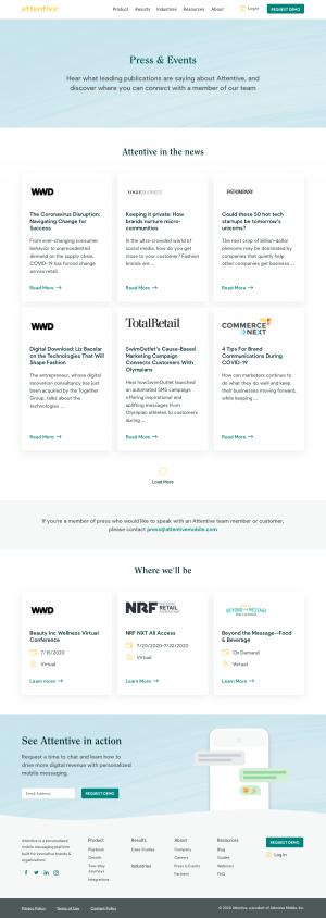 Attentive – Media kit page
