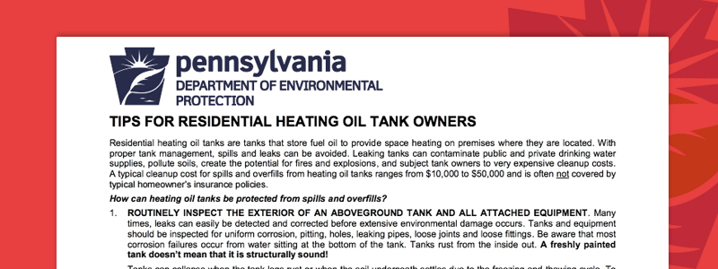 Tips for residential heating oil tank owners