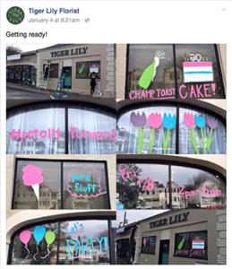 Tiger Lily Florist's Facebook post for their 20 year anniversay video