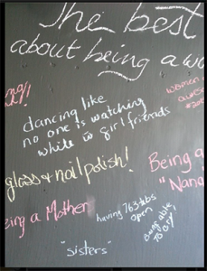 During last year's Women's Day party at East City Florist in Peterborough, Ontario, guests wrote on a chalkboard reasons they loved being a woman.