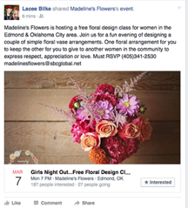 A free design class for female business owners and community leaders is one of several ways Madeline's Flowers in Edmond, Oklahoma is promoting Women's Day.