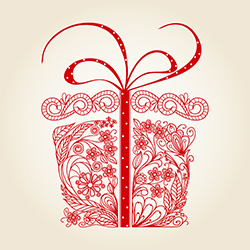stock image of a present with red floral designs