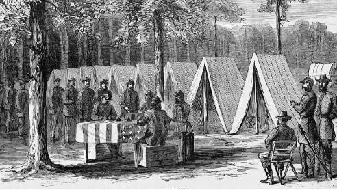 soldiers lined up to vote in 1864