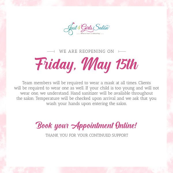 Just 4 Girls is Reopening May 15th!