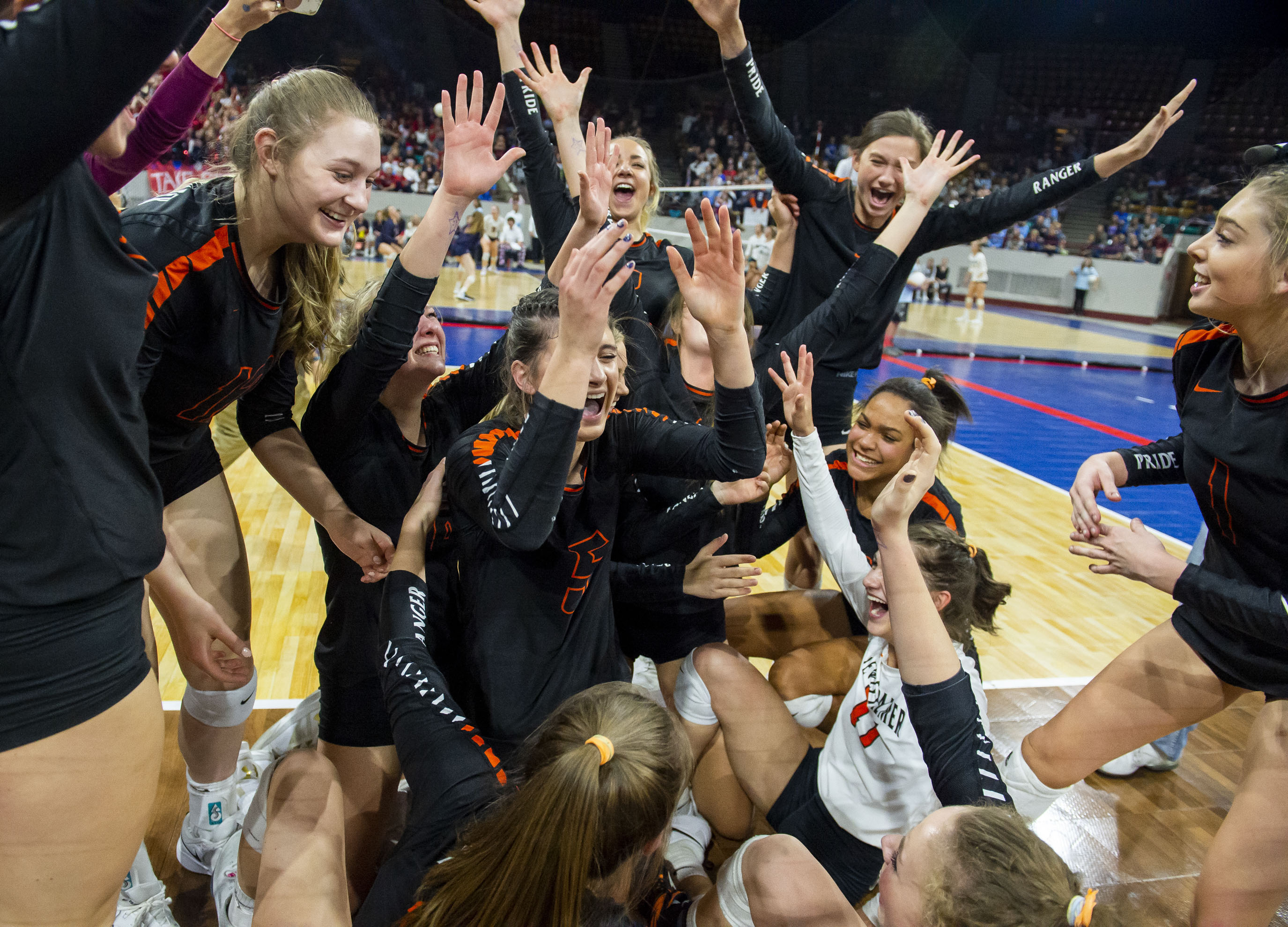 Lewis-Palmer celebrates after they won their third consecutive title for  the CHSAA 4A Girls Volleyball State Championships held at Denver Coliseum  on ... 4ba774380