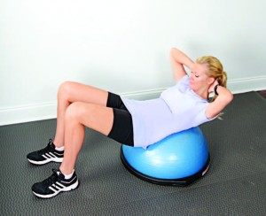 A part of Sandra Lee's Sprintime workout: BOSU crunches
