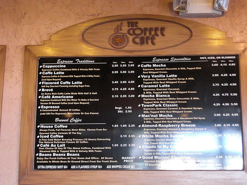 Menu Board at The Coffee Cafe