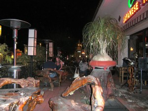 Wood carved patio furniture at Wazzabi