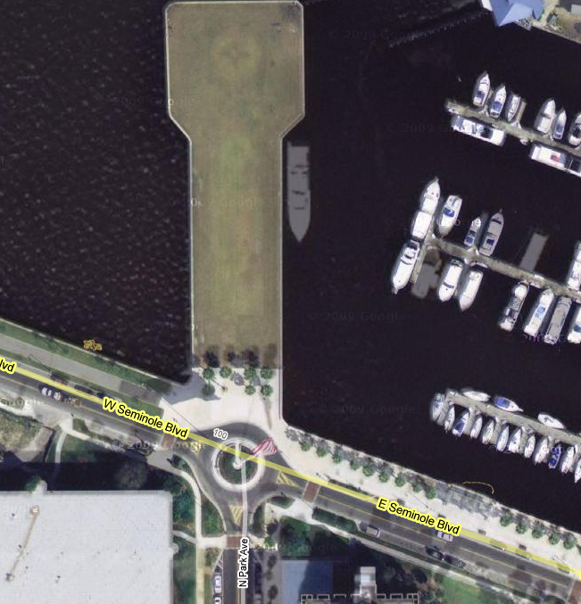 Google Satellite Iage of Sanford Marina Flags