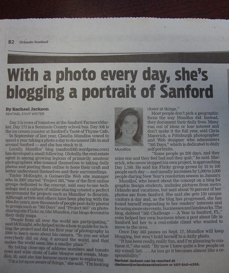 Day 328 – Sanford 365 in the Orlando Sentinel