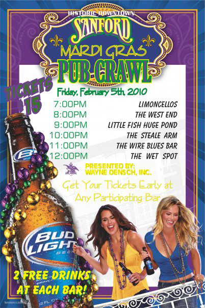 Sanford Mardi Gras Pub Crawl on Friday February 5