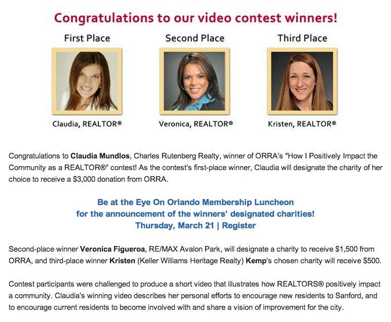 ORRA Video contest winners