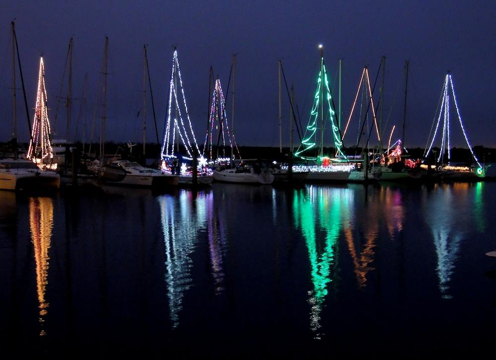illuminated boats