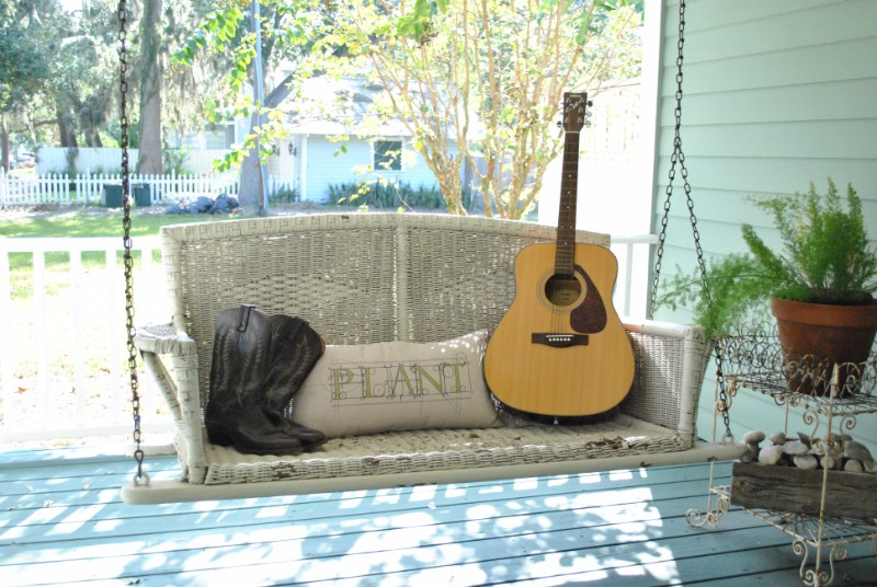 A guitar on a porch that will be featured at Sanford Porchfest, the first music festival in Sanford FL.
