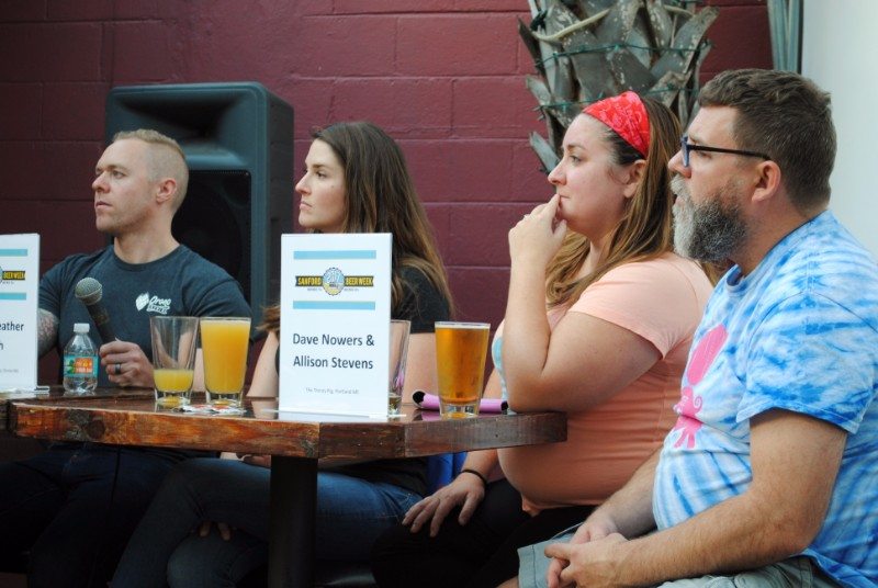 Abe Furth, Heather Furth, Allison Stevens, and Dave Nowers discuss beer at the Sanford-Portland Beer Summit 2017