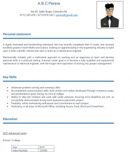 Free Download Cv Format For School Leavers In Sri Lanka