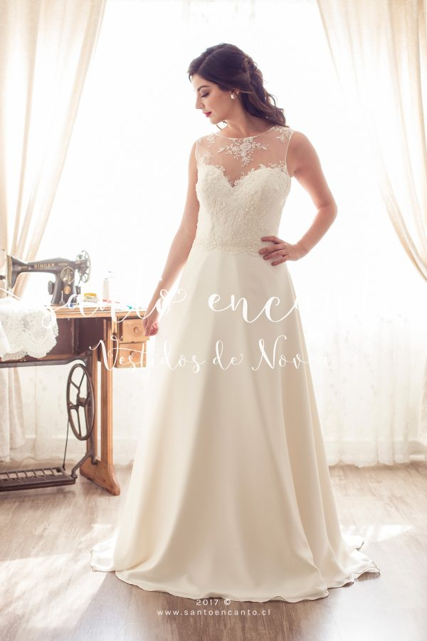 vestido de novia escote ilusión