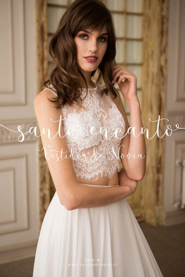 vestido de novia dos piezas encaje María Ignacia