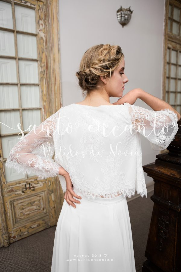 vestido de novia 2 piezas de encaje
