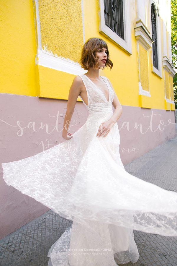 Vestido de novia escote V