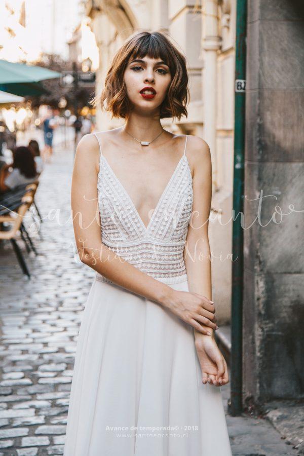 Vestido de novia geométrico