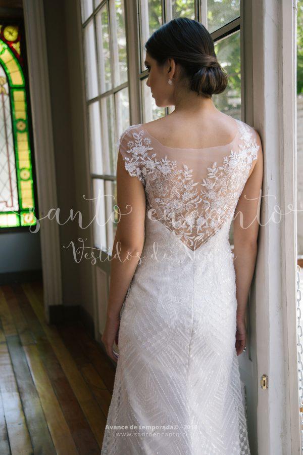 Vestido novias columna con pedrería