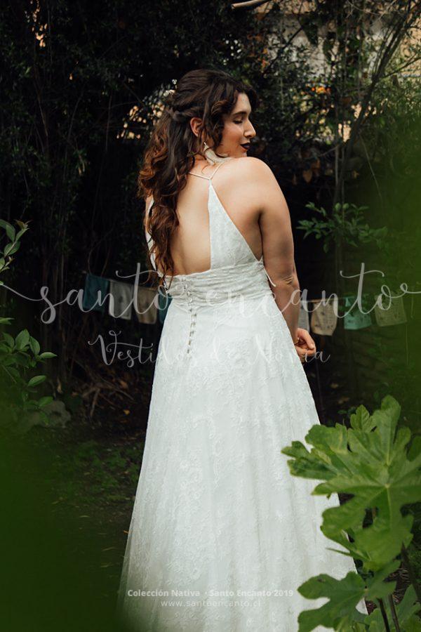 Vestido de novia de encaje francés