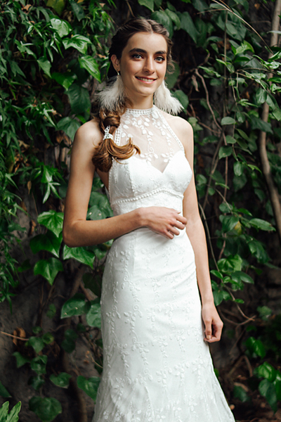 Vestido de novia boho, halter
