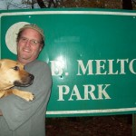 Ben Smith and Cleo at the trailhead in DeKalb County