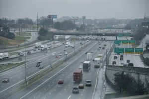 Gwinnett County is preparing to add diverging diamond interchanges at I-85 and Jimmy Carter Boulevard to ease traffic congestion on this segment of I-85 just north of the DeKalb County line. Credit: Donita Pendered