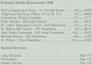 Photo of 1946 phone numbers in Atlanta (Credit: Atlanta Telephone History website)