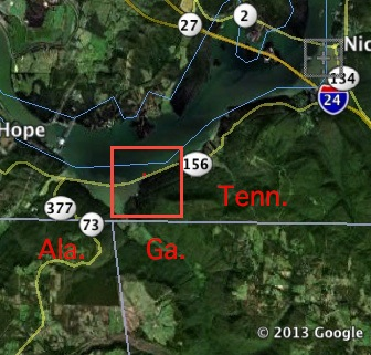 Georgia lawmakers propose to take part of the Tennessee River shoreline, an area approximated by the red shape. Credit: Google Earth, David Pendered