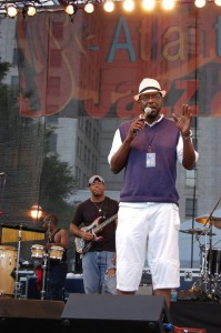 Morris Baxter on stage at the 2008 Atlanta Jazz Festival.