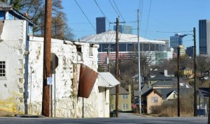 Some on the Atlanta City Council want the deal for a proposed new stadium to benefit neighborhoods west of the Georgia Dome, which have declined since the facility opened for use. Credit: Kristian Weatherspoon via marketplace.org