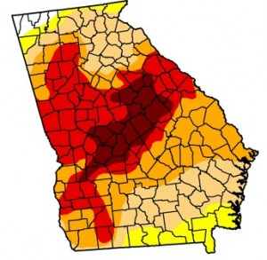 Two-thirds of Georgia suffered under drought conditions that ranged, on Jan. 1, from severe to exceptional. Credit: U.S. Drought Monitor