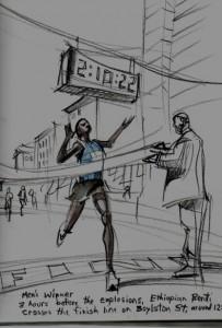 Atlanta artist Walter Cumming completed this sketch a few hours before the terrorist attack began. Credit: waltercumming.wordpress.com