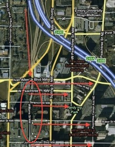 One way to reduce traffic congestion on the southbound Downtown Connector would be to change driver behavior on Williams Street. Instead of allowing drivers who exited onto Williams Street to turn left onto Ivan Allen Boulevard, which is the first left turn after the highway, drivers could be directed into the area marked by the oval and allowed to turn left on one of those intersecting streets. This routing would result in eastbound traffic backing up on Williams Street, instead of onto the highway, according to an example provided by a GDOT planner. Credit: David Pendered, Mapquest
