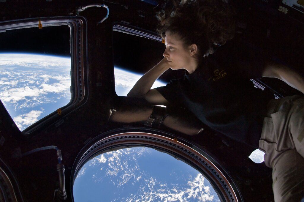 Photo of astronaut Tracy Caldwell Dyson pictured in the cupola of the International Space Station. (Credit: NASA)