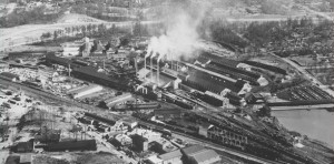 This undated photo of the Atlantic Steel mill in its heyday shows the extent of the site's revival as a live-work-play community. Credit: EPA