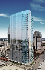 This rendering shows the 29-story office tower that Cousins Properties is developing in Austin. The architect, Duda/Paine Architects, of Durham, N.C., won an award for another tower in Austin built by Cousins. Credit: Cousins Properties, Inc.