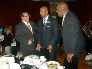 Gwinnett's Nick Masino talks to MARTA's Keith Parker and ARC's Doug Hooker (Photo: Maria Saporta)