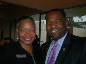 Former Atlanta City Council President Lisa Borders chats with current City Council Preasident Ceasar Mitchell